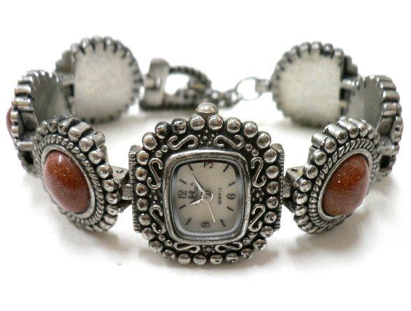 ◆天然石ブレス在庫処分◆ゴールドストーン付アンティーク メタル ブレス ウォッチ/1点のみ