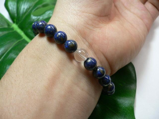 ◆天然石ブレス在庫処分◆8mm珠ラピスラズリ+水晶 数珠ブレス_画像2