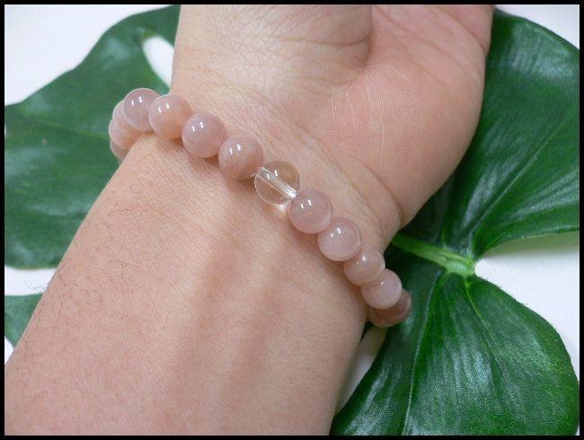 ◆天然石ブレス在庫処分◆8mm珠サンストーン+水晶 数珠ブレス_画像2