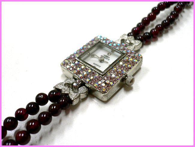◆天然石ブレス在庫処分◆4mm珠ガーネット2連×ラインストーン盤面ブレス ウォッチ/オリジナル時計ハンドメイド