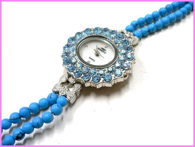 ◆天然石ブレス在庫処分◆4mm珠ターコイズ2連×ラインストーン盤面ブレス ウォッチ/オリジナル時計ハンドメイド