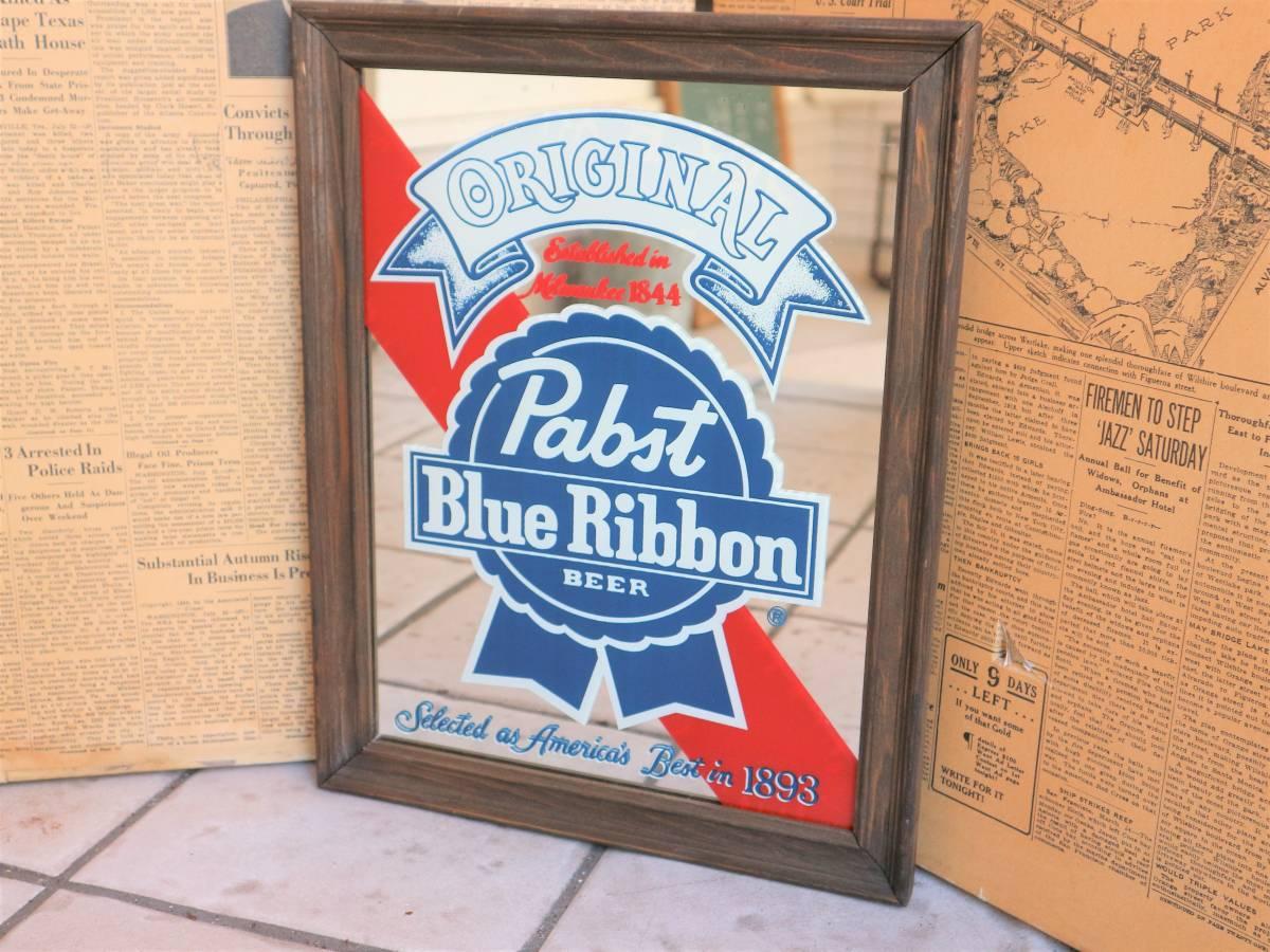 ビンテージ Pabst パブミラー 壁掛け 飾り ディスプレイ ウォールデコ インテリア BAR CAFE 店舗什器 額縁 アメリカ ビール_画像2