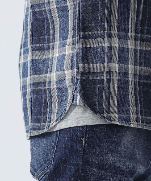 美品 nano・universe ナノユニバース ヴィンテージ加工 デニム風 チェックシャツ M インディゴブルー 紺×白 ネイビー ホワイト 青 シャツ_画像4
