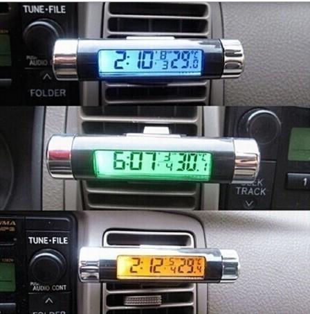 F185 1円~ 新品 未使用 自動車温度計 時計カレンダー 車のLCDクリップ デジタルバックライト (カラー:ブラック)