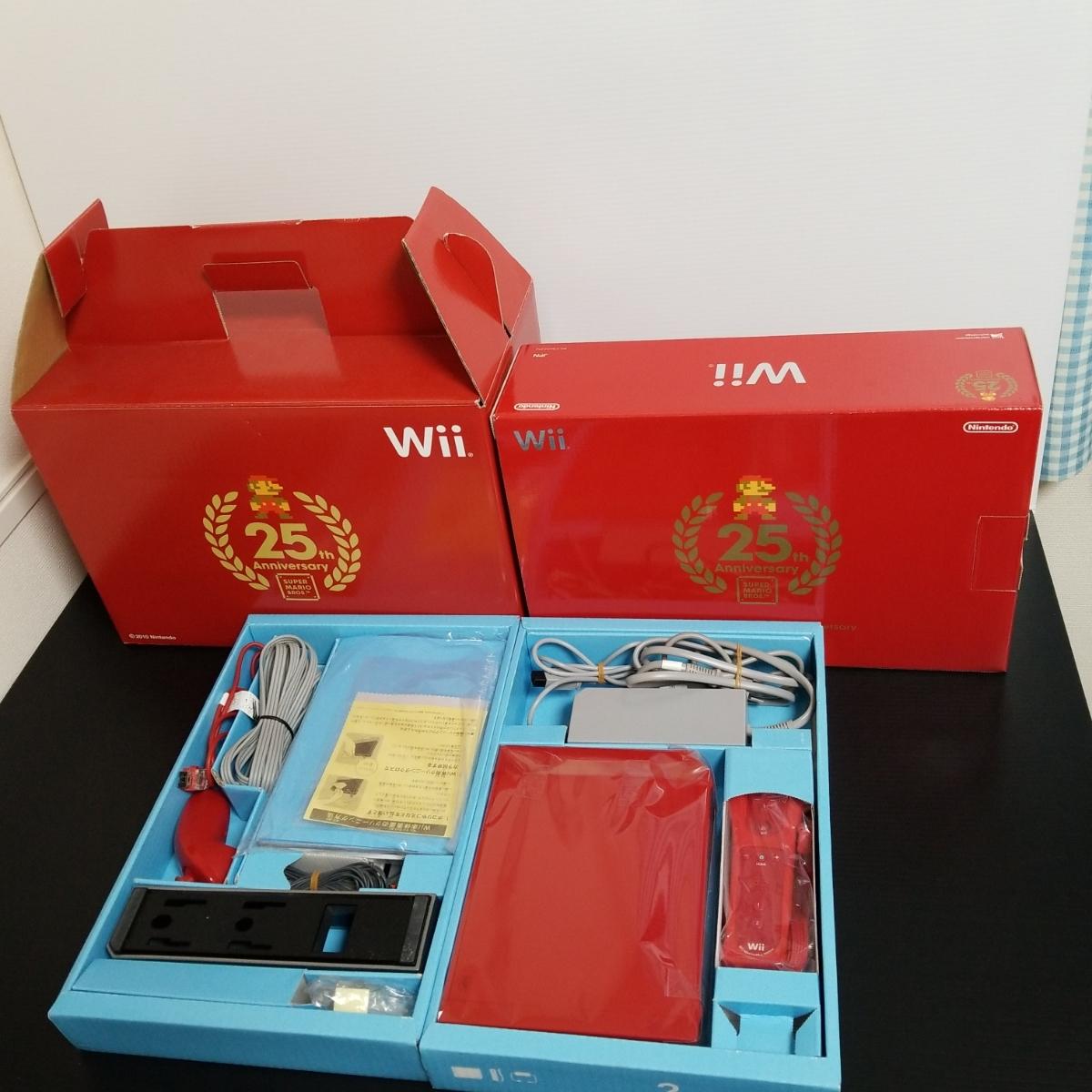 付属品完備 任天堂 Wii本体 スーパーマリオ25周年バージョン 赤 貴重な25周年スーパーマリオあり ヤマダ電機予約特典大型ボックス付き