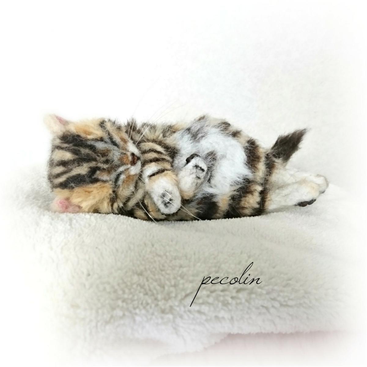 peco-lin 羊毛フェルト すやすや眠るベンガルの赤ちゃん 猫 ハンドメイド 眠り猫_画像2