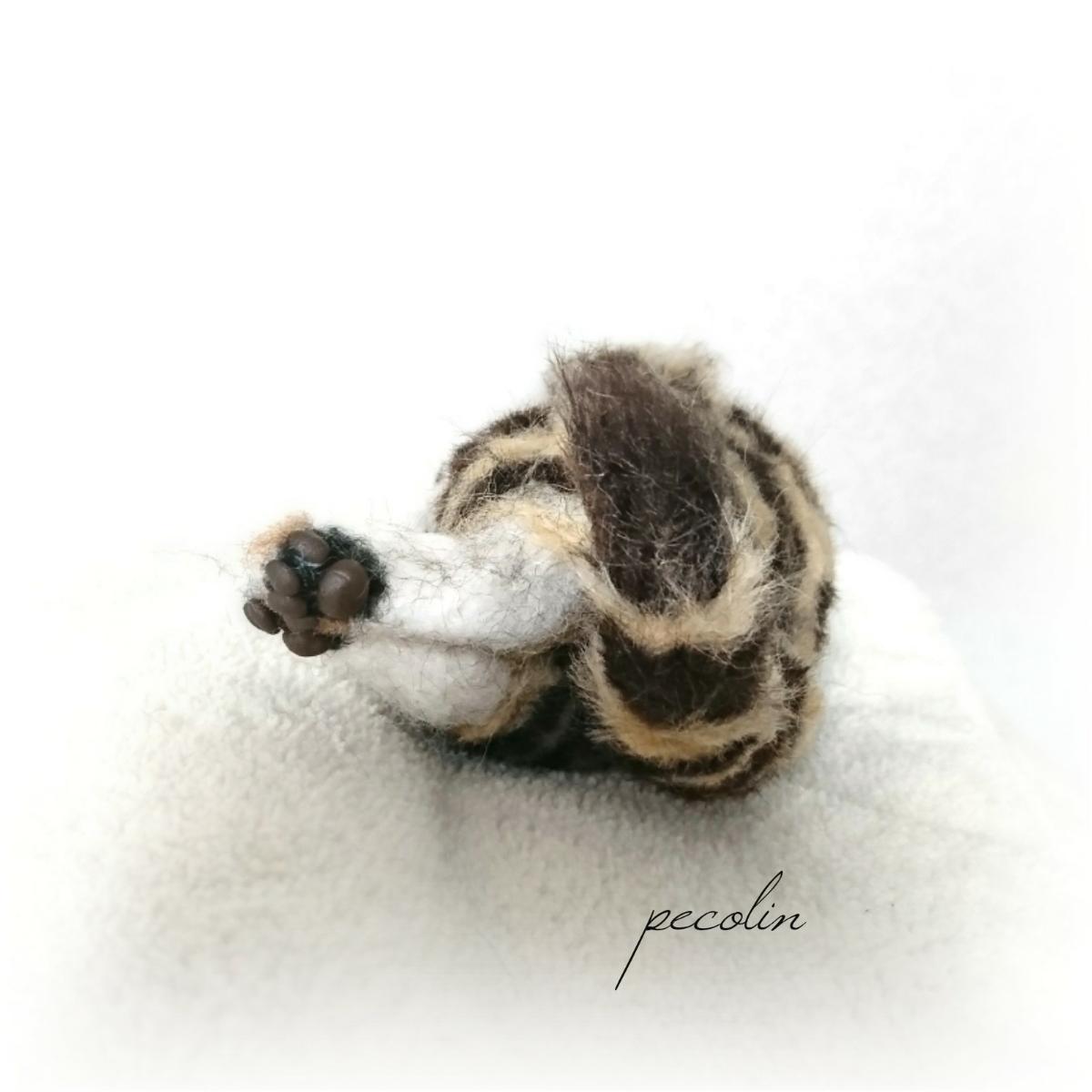 peco-lin 羊毛フェルト すやすや眠るベンガルの赤ちゃん 猫 ハンドメイド 眠り猫_画像7