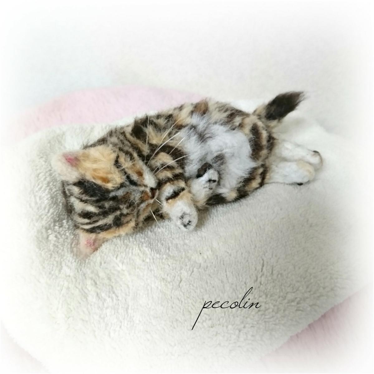 peco-lin 羊毛フェルト すやすや眠るベンガルの赤ちゃん 猫 ハンドメイド 眠り猫_画像10