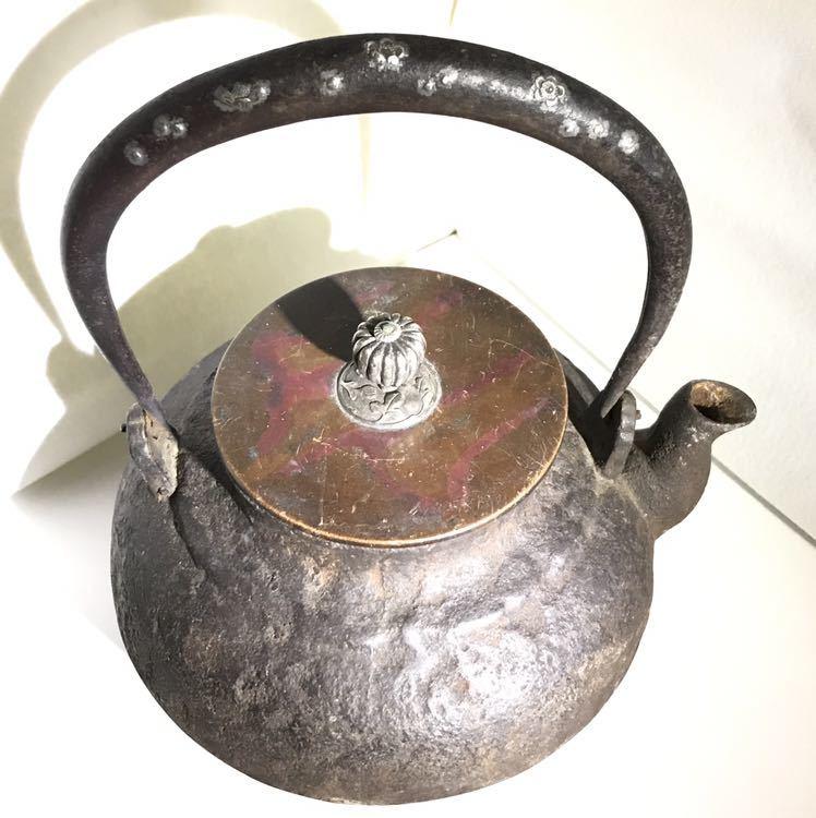 龍文堂 安之介? 梅桜図象嵌 銀掴み(回転) 煎茶道具 銅蓋 時代 京都蔵出しにて