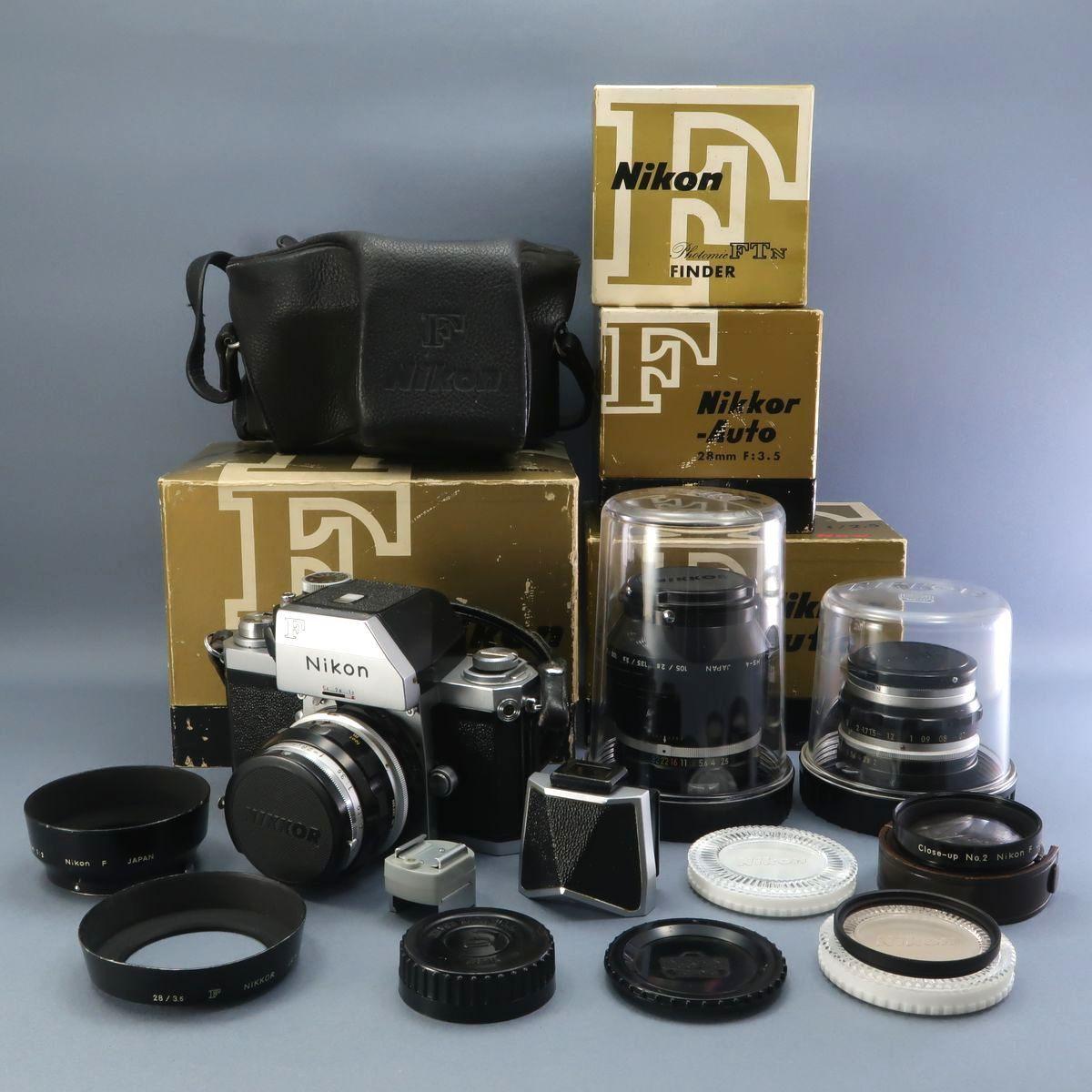 ★Nikon F フィルムカメラ 本体 レンズ Nikkor-Auto 105mm F 2.5 28mm F 3.5 NIKKOR-H Auto 1:3.5 f=2.8cm FTN 付属多数 ジャンク