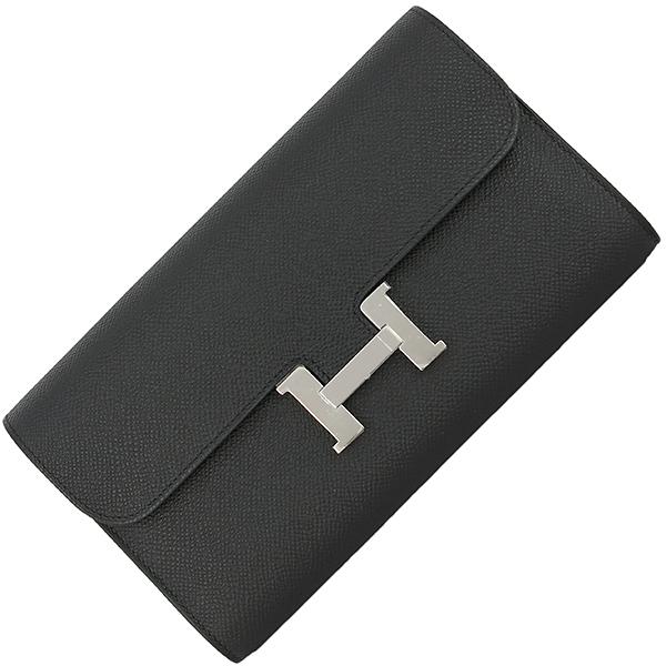 新品 エルメス コンスタンスロング エプソン レザー ブラック シルバー金具 二つ折り長財布 ロングウォレット C刻印 2018年製 フラップ財布