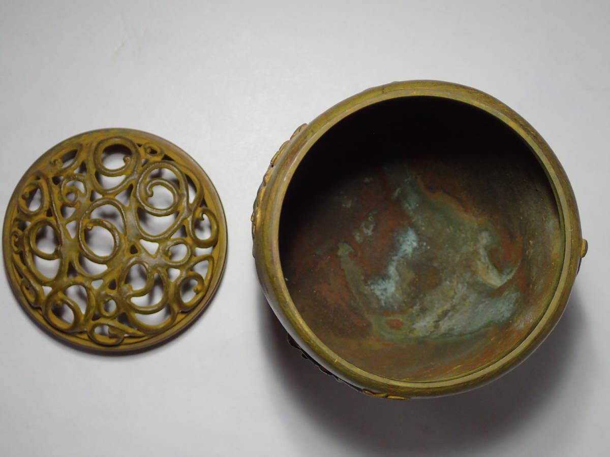 名取川雅司 伝芳文香炉 共箱 高岡銅器 銅製 お香 置物 蝋型鋳銅 香炉_画像7