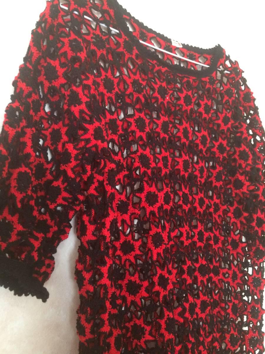 黒赤 手作り レース編み ドイリー 編みバッグ ハンドメイド トップス
