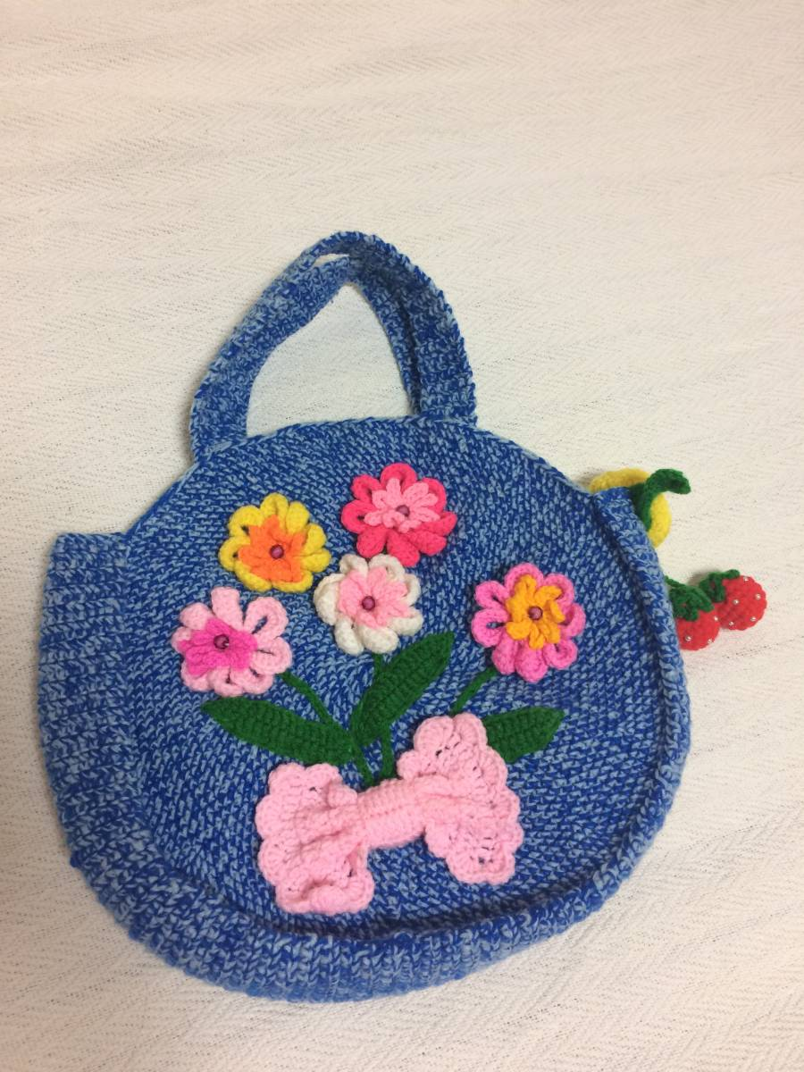 かわいい花 リボン 手作り 編みバッグ ハンドメイド 青色