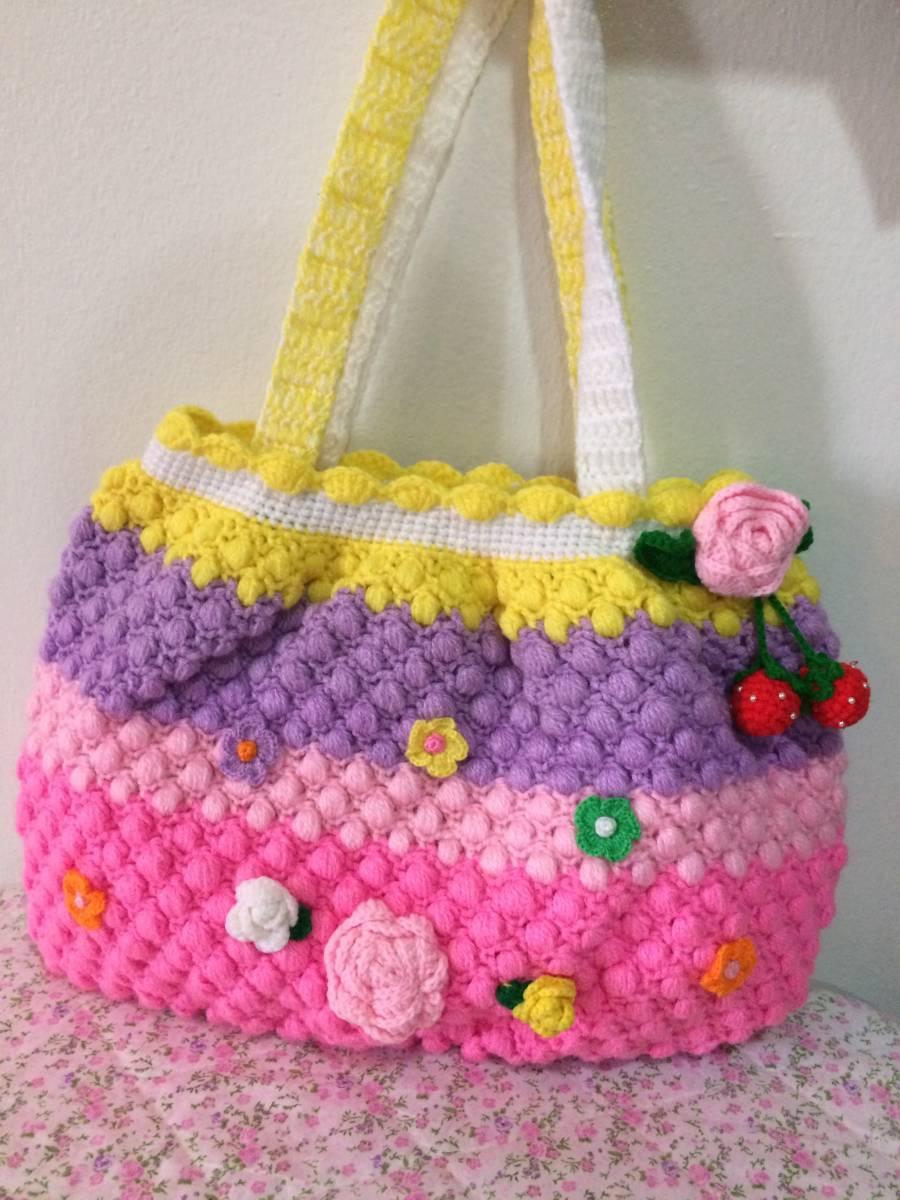 かわいいお花 イチゴ 手作り 編みバッグ ハンドメイド トートバッグ