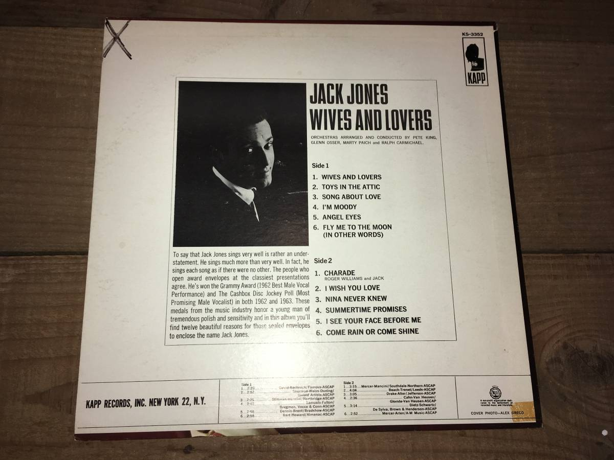 LPレコード/US盤/KS3352●ジャックジョーンズJack Jones / Wives And Lovers_画像2