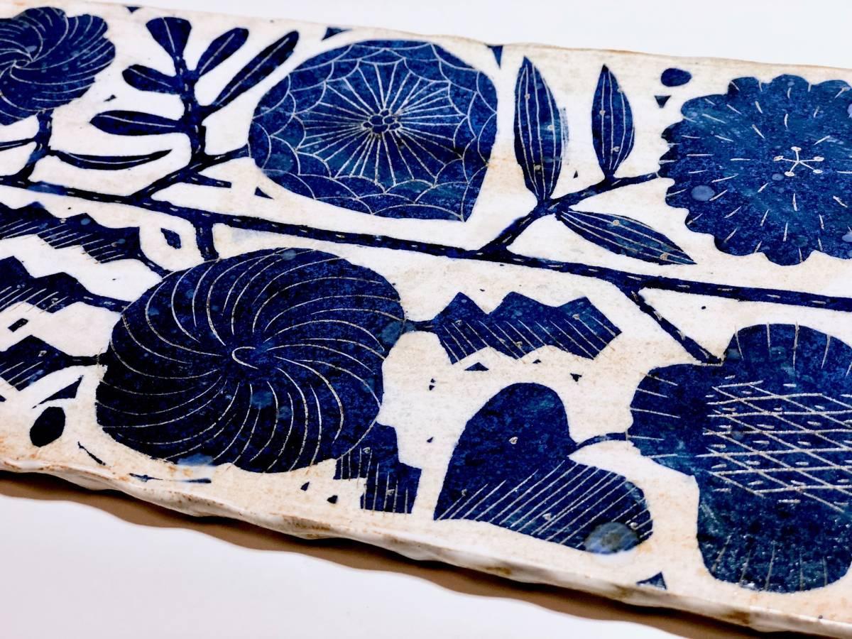 1点のみ 鹿児島睦 特大 ロングプレート 花柄 33.5cm ハンドメイドの器 ZUAN & ZOKEI by Makoto Kagoshima 大皿 草花 _画像4