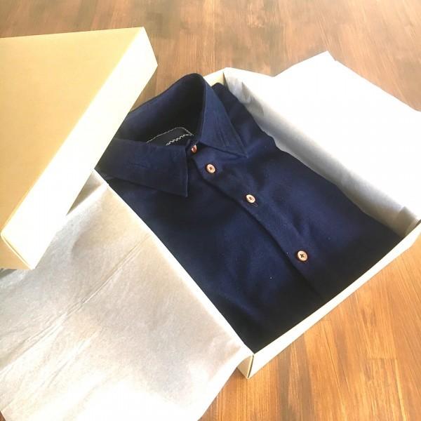 """送料無料 HAKOU""""波光"""" 藍染 オックスフォード パッチワーク ウッドボタン 長袖 シャツ 手作り ハンドメイド aizome shirts"""