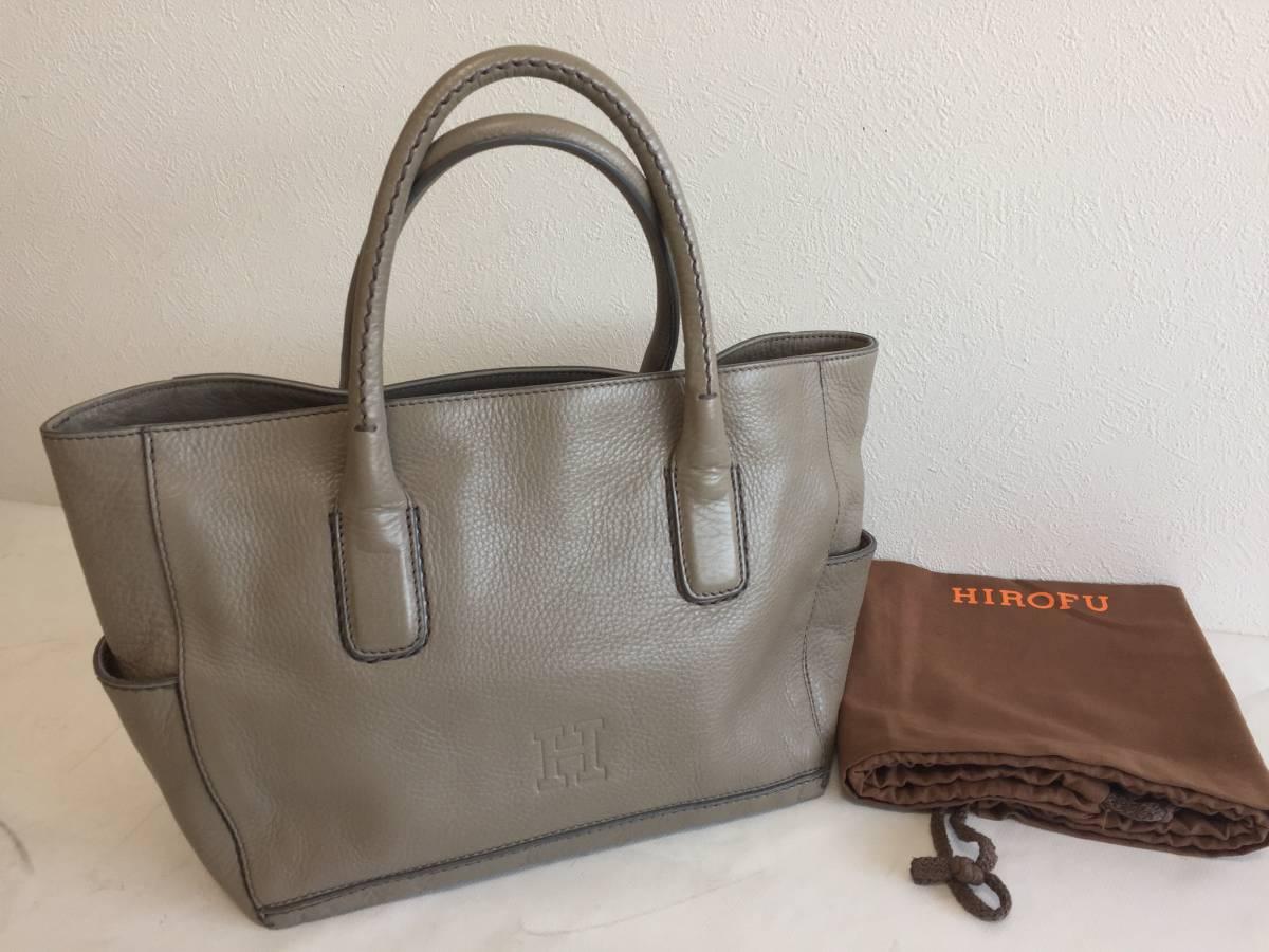 ヒロフ グレージュ トートバッグ レザー 本革 かばん 鞄 レディース イタリア製 HIROFU 中古1902198拍卖
