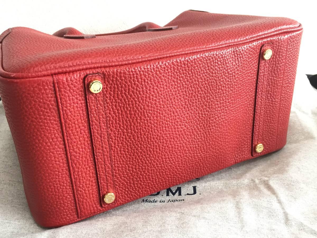 美品 ADMJ アクセソワ・ドゥ・マドモワゼル ハンドバッグ レザー 赤 レディース 使用1回 バッグ かばん 鞄 1902202_画像4