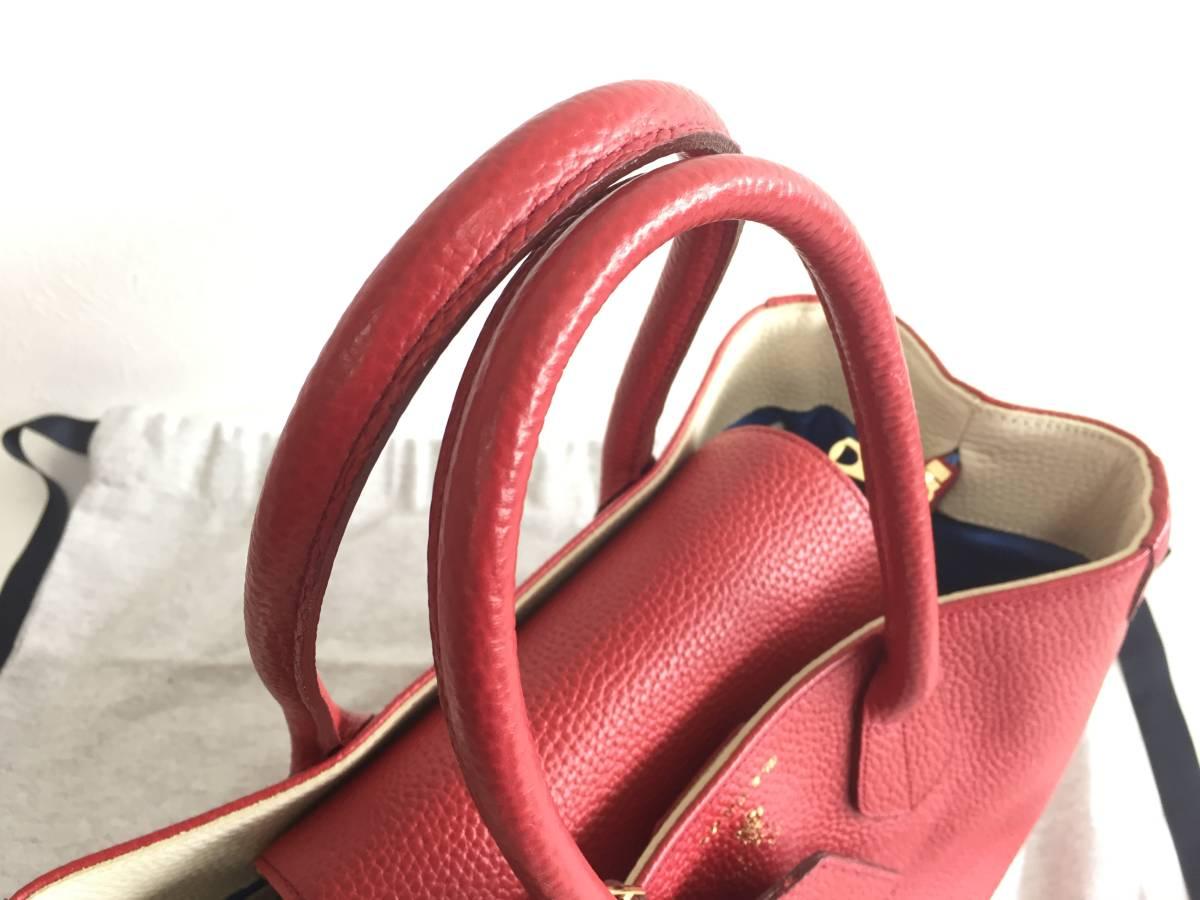 美品 ADMJ アクセソワ・ドゥ・マドモワゼル ハンドバッグ レザー 赤 レディース 使用1回 バッグ かばん 鞄 1902202_画像6