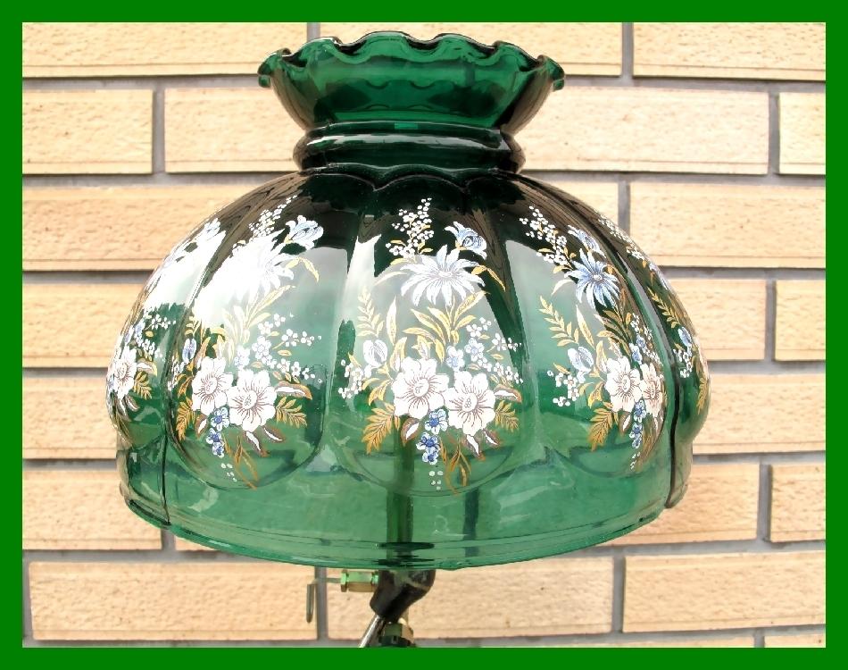 4'47 レアCanada Coleman 156 Table Lamp All Brass コールマン完全OH点火1年間保証メロン系グリーンフラワーガラスシェード付200A_画像3