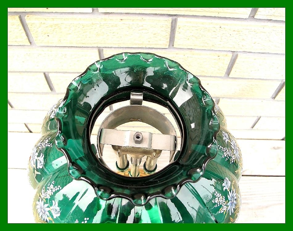4'47 レアCanada Coleman 156 Table Lamp All Brass コールマン完全OH点火1年間保証メロン系グリーンフラワーガラスシェード付200A_画像4