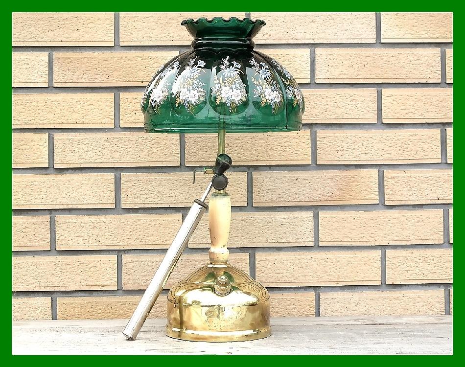 4'47 レアCanada Coleman 156 Table Lamp All Brass コールマン完全OH点火1年間保証メロン系グリーンフラワーガラスシェード付200A