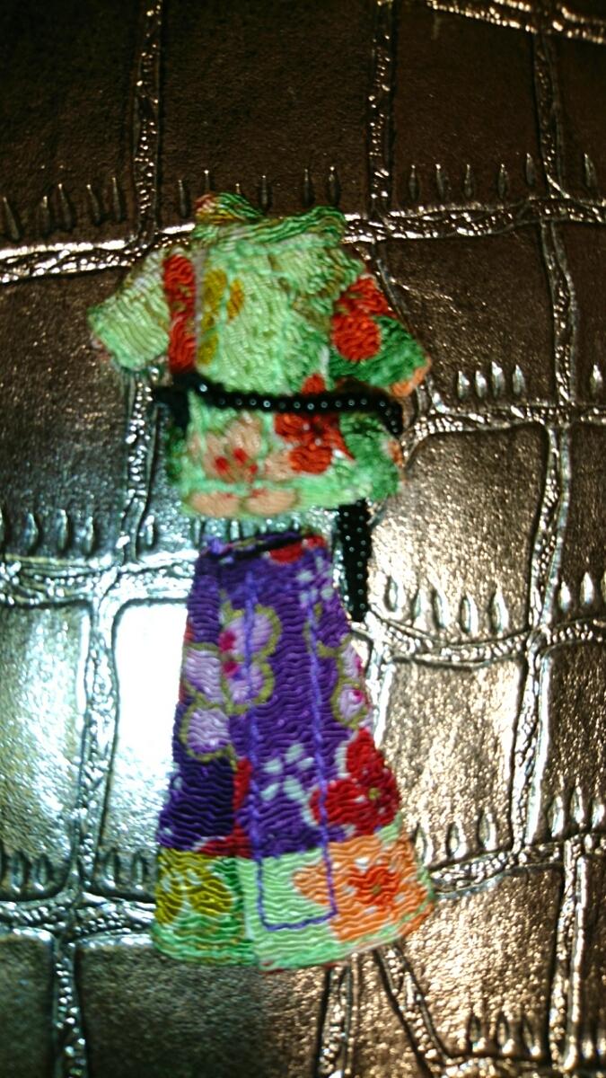 新品 プチブライス アウトフィット パーフェクトアジアンバタフライ ベルト 洋服 上下 ブライス ドール 服 和柄 沖縄 琉球 和服 和装 花柄_画像4