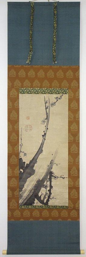 【掛け軸】 伊藤若冲 「墨梅図」 真筆保証 江戸中期 奇想の絵師 京都生まれ