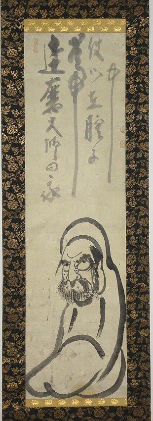 【掛け軸】 白隠慧鶴 「起上小法師達磨・自画賛」 禅画の祖 500年に一人の天才 江戸