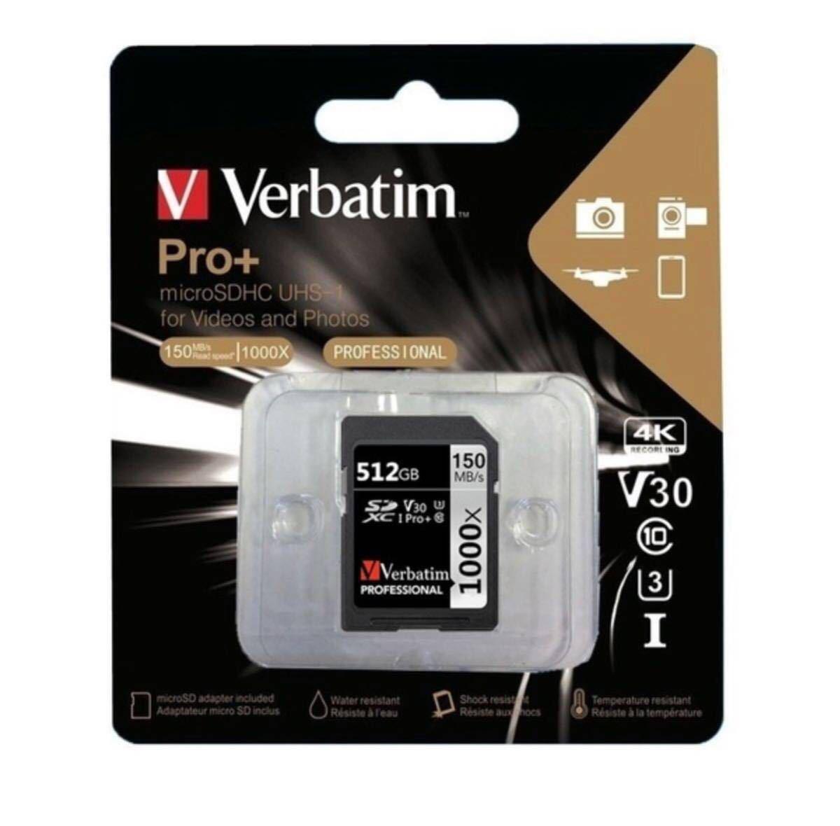 Verbatim 512GB Pro Plus 1000X SDXC Memory Card U3 Class 10 free