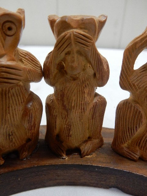 インド共和国産 木製 3WISE MONKYS 3猿 2セット 見ザル 言わザル 聞かザル UR_画像3