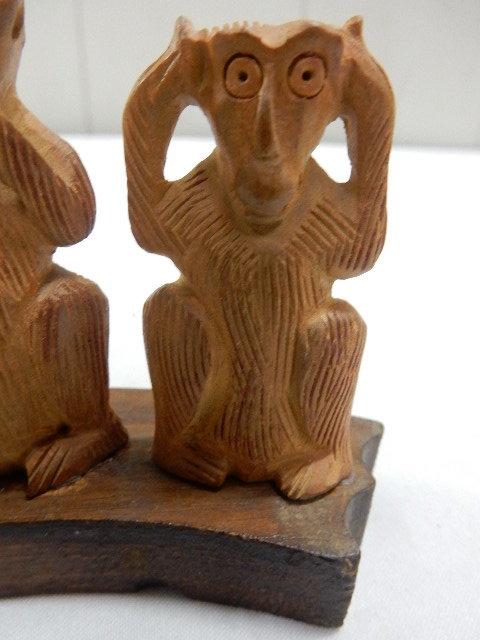 インド共和国産 木製 3WISE MONKYS 3猿 2セット 見ザル 言わザル 聞かザル UR_画像4