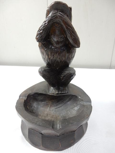 原産国不明 木製手彫り 灰皿付き 3体セット 3WISE MONKYS 見ザル 言わザル 聞かザル UR_画像4