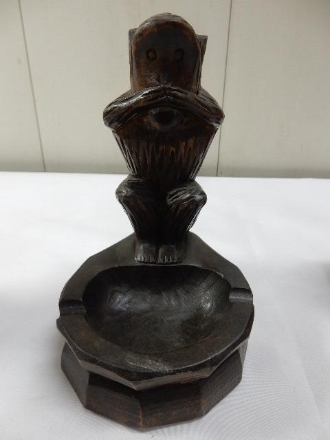 原産国不明 木製手彫り 灰皿付き 3体セット 3WISE MONKYS 見ザル 言わザル 聞かザル UR_画像5