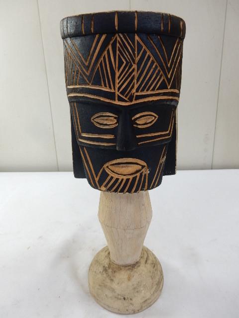 ケニア共和国 木製 手彫り工芸品 二面置物 コレクション インテリア飾り UR_画像4