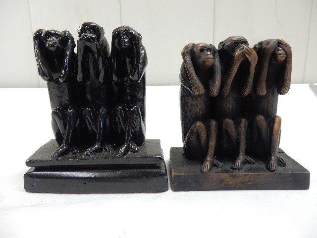 タイ王国産 樹脂製 2セット 3WISE MONKYS 3猿 見ザル 言わザル 聞かザル UR_画像1