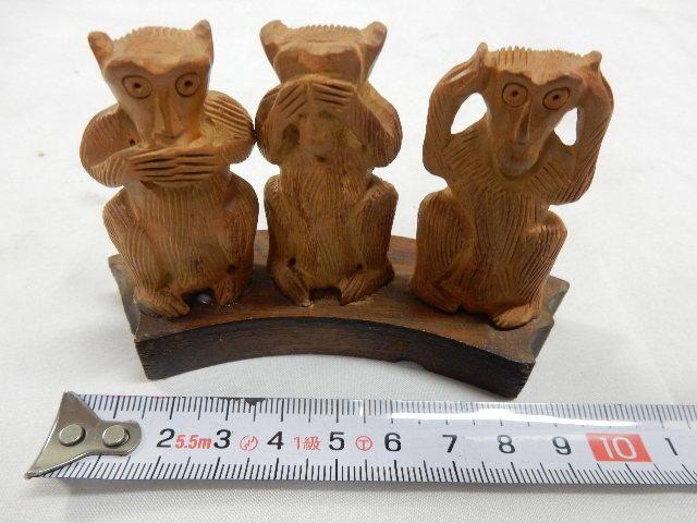 インド共和国産 木製 3WISE MONKYS 3猿 2セット 見ザル 言わザル 聞かザル UR_画像6