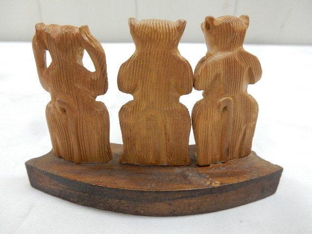 インド共和国産 木製 3WISE MONKYS 3猿 2セット 見ザル 言わザル 聞かザル UR_画像7