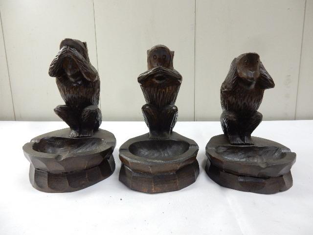 原産国不明 木製手彫り 灰皿付き 3体セット 3WISE MONKYS 見ザル 言わザル 聞かザル UR