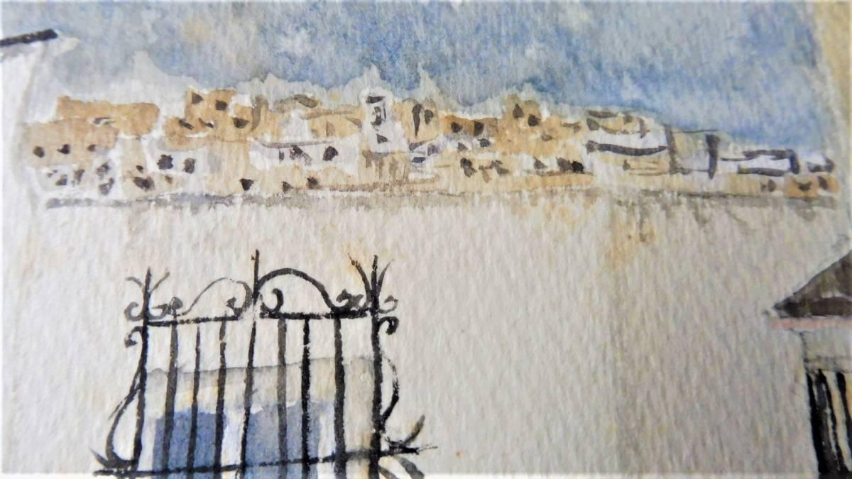 巨匠荻須高徳画伯の「パリの街」。 SMサイズの肉筆水彩画。 生涯の大半をパリで過ごした巨匠の水彩による街角風景です。 _画像5