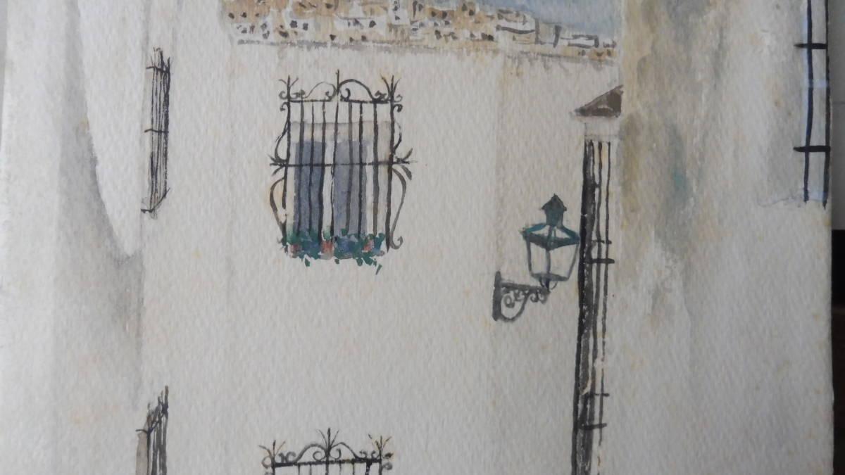 巨匠荻須高徳画伯の「パリの街」。 SMサイズの肉筆水彩画。 生涯の大半をパリで過ごした巨匠の水彩による街角風景です。 _画像9