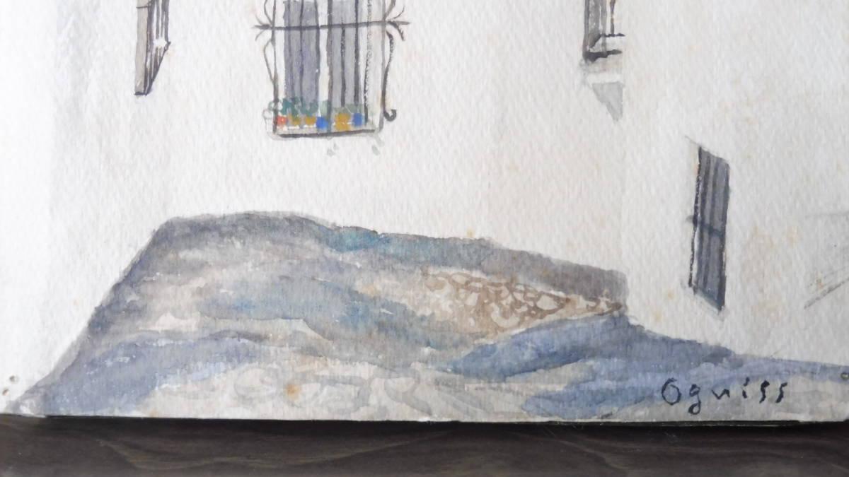巨匠荻須高徳画伯の「パリの街」。 SMサイズの肉筆水彩画。 生涯の大半をパリで過ごした巨匠の水彩による街角風景です。 _画像10