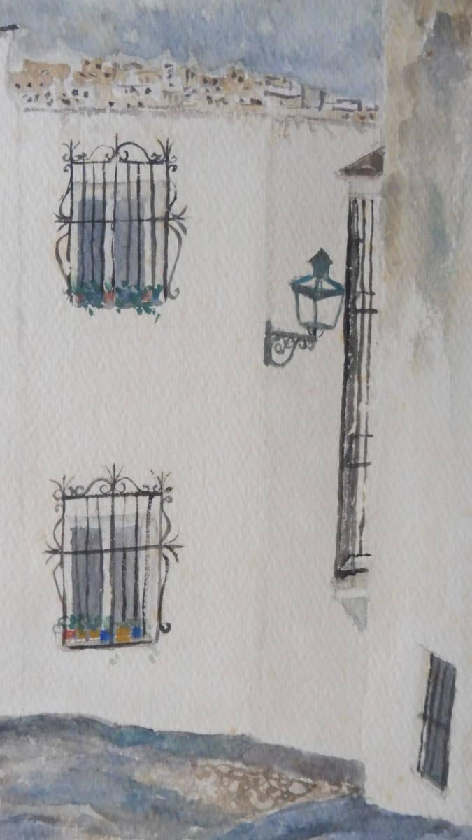 巨匠荻須高徳画伯の「パリの街」。 SMサイズの肉筆水彩画。 生涯の大半をパリで過ごした巨匠の水彩による街角風景です。 _画像4