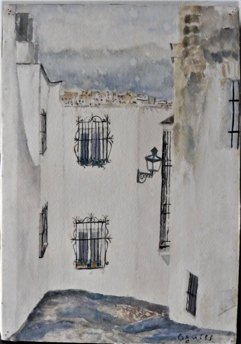 巨匠荻須高徳画伯の「パリの街」。 SMサイズの肉筆水彩画。 生涯の大半をパリで過ごした巨匠の水彩による街角風景です。 _画像2