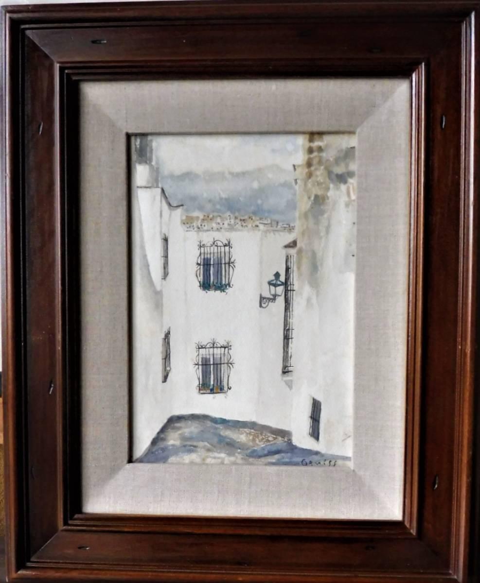 巨匠荻須高徳画伯の「パリの街」。 SMサイズの肉筆水彩画。 生涯の大半をパリで過ごした巨匠の水彩による街角風景です。