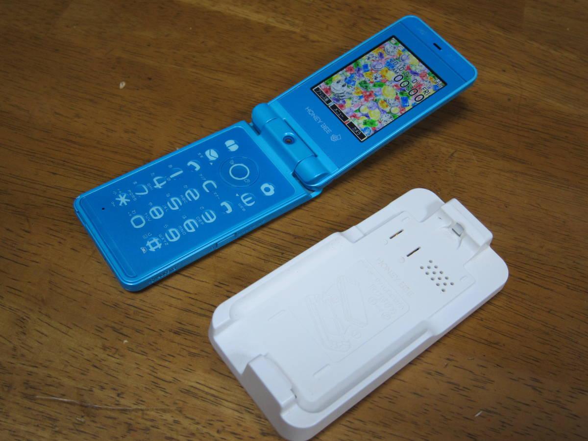WX334K + 卓上ホルダ CH334K ブルー HONEY BEE BOX ウィルコム ワイモバイル willcom 京セラ PHS_画像1