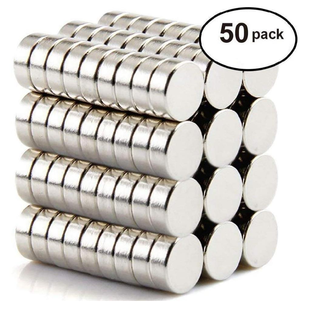 世界最強マグネット- ネオジム磁石 小型 丸形 強力マグネット 8mm×3mm 地図やホワイトボード、冷蔵庫に最適 - 収納ケース付き(50個入)_画像1
