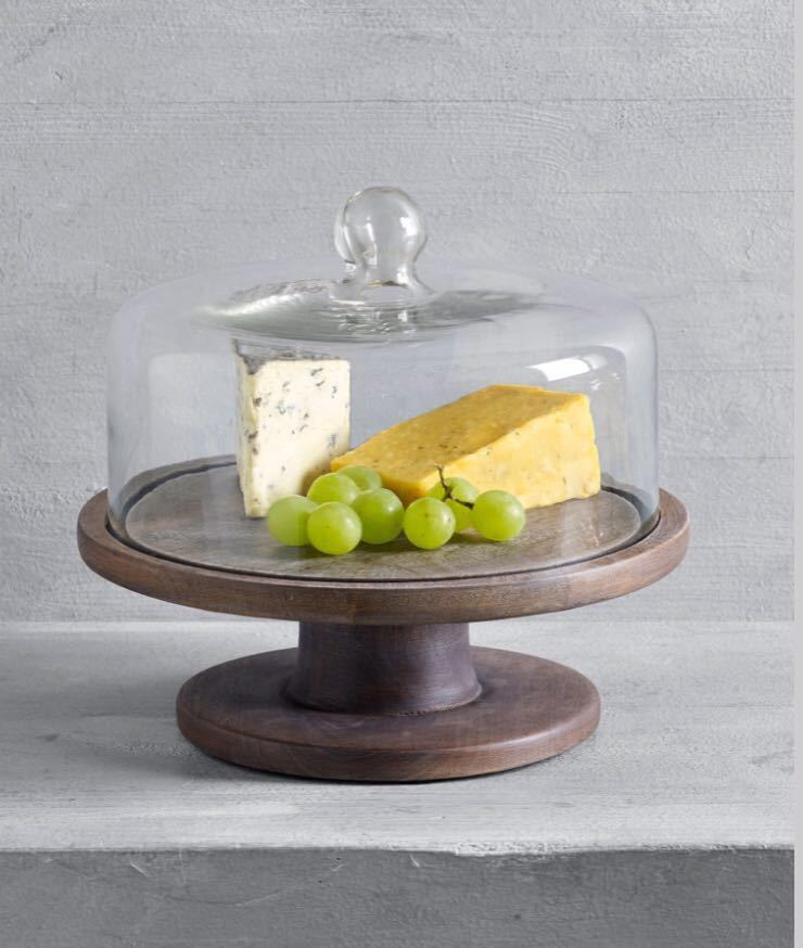 ケーキドーム ガラス製 木製 送料無料 新品未使用 イギリス直輸入 ガラスドーム 大きいサイズ 直径25cm シルバー系 おしゃれ 北欧 プレート